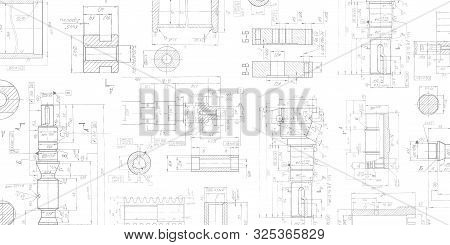Drawing details on a white background .Mechanical Engineering drawing .Parts for industrial construction. stock photo