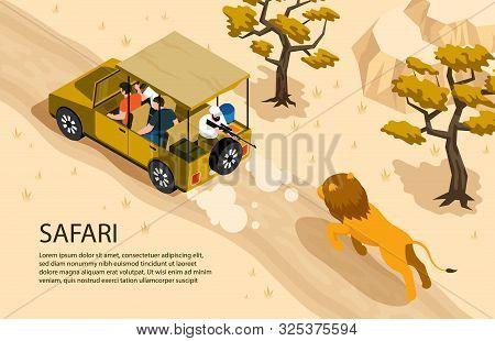 Lion Running After Safari Car And Man With Gun 3d Isometric Horizontal Vector Illustration