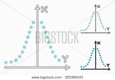 Mesh gauss plot model with triangle mosaic icon. Wire frame triangular mesh of gauss plot. Vector collage of triangle parts in variable sizes, and color hues. Abstract flat mesh gauss plot, stock photo