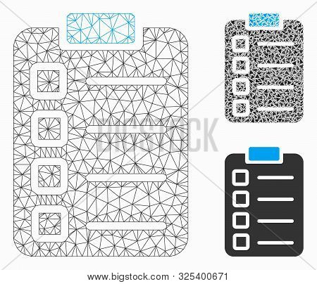 Mesh test tasks model with triangle mosaic icon. Wire frame triangular mesh of test tasks. Vector collage of triangle elements in different sizes, and color tints. Abstract 2d mesh test tasks, stock photo