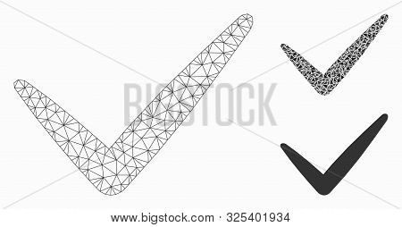 Mesh valid model with triangle mosaic icon. Wire carcass polygonal network of valid. Vector composition of triangle parts in variable sizes, and color tints. Abstract flat mesh valid, stock photo