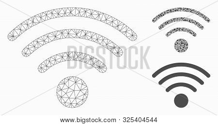 Mesh Wi-Fi source model with triangle mosaic icon. Wire frame triangular mesh of Wi-Fi source. Vector mosaic of triangle elements in various sizes, and color tints. Abstract flat mesh Wi-Fi source, stock photo