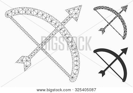 Mesh archery bow model with triangle mosaic icon. Wire carcass polygonal mesh of archery bow. Vector mosaic of triangle elements in various sizes, and color shades. Abstract 2d mesh archery bow, stock photo
