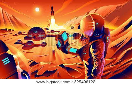 An illustration of astronauts are exploring on the cliff near their base on Mars. Mars colonization. stock photo
