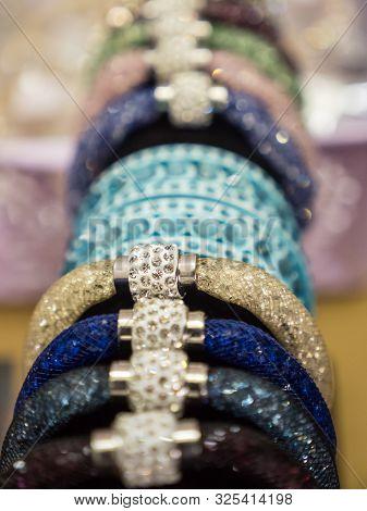 stylish bracelet wuth shiny stones on display stock photo