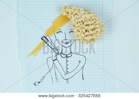 drawing portrait of a woman curly hair noodles holding a hair straightener spaghetti straight hair . the concept of straightening and curling hair stock photo