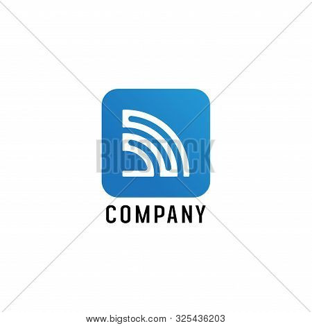 Wifi Signal Logo Design Template, Radio Signal Waves, Energy Waves, Antenna and Satellite Signal Symbols, White and Blue Vector Element, Electrical Concept stock photo