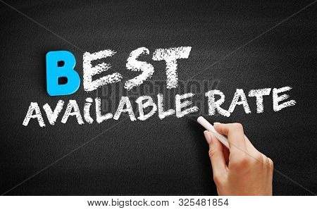 Best Available Rate text on blackboard, business concept background stock photo