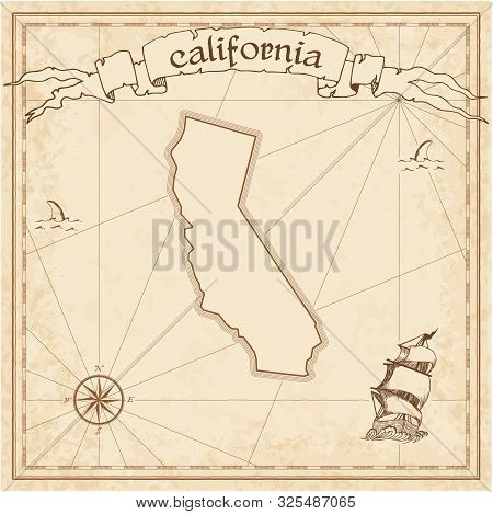 World pirate map. Ancient style navigation atlas. Boggs eumorphic projection. Old map vector. stock photo