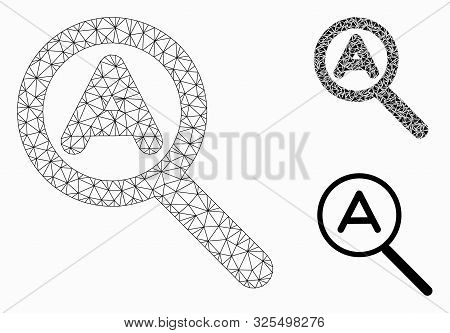 Mesh zoom auto model with triangle mosaic icon. Wire carcass polygonal mesh of zoom auto. Vector mosaic of triangles in variable sizes, and color hues. Abstract flat mesh zoom auto, stock photo