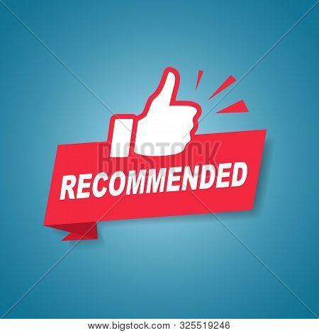 Red recommended label or sign with text and icon endorsing or praising a product or service, vector illustration stock photo