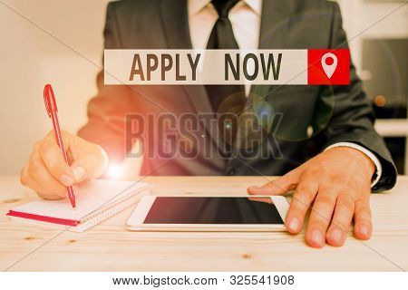 Writing note showing Apply Now. Business photo showcasing An act of a demonstrating to acquire the job related to the profession. stock photo