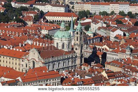 church of saint Nicholas in Prague in Czech Republic stock photo