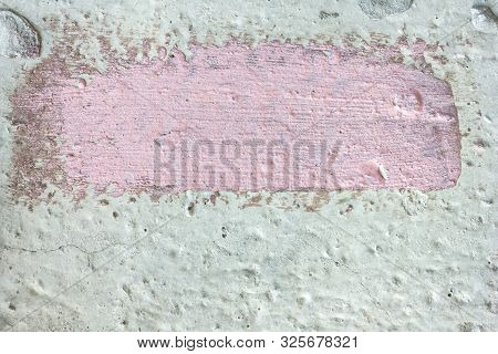 Adhesive primer. Closeup view of brush stroke. Surface preparation for concreting. stock photo