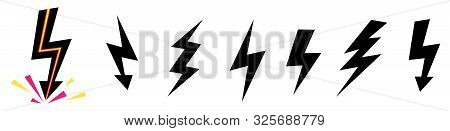 Vector set icons black Lightning bolt. collection of Thunder Ico stock photo