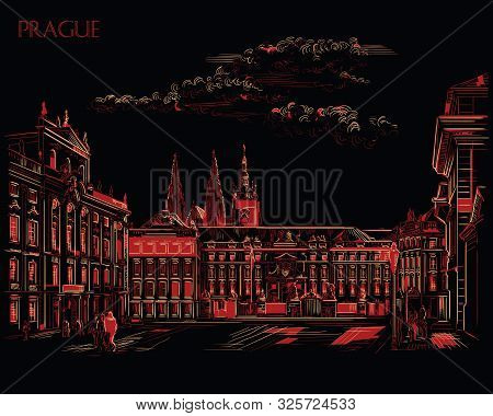 Vector hand drawing Illustration of Hradcany square. The Central gate of the Hradcany Castle. Landmark of Prague, Czech Republic. Vector illustration in red and beige colors isolated on black background. stock photo