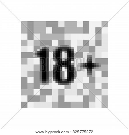 Under 18 sign warning symbol. Over 18 only censored. Eighteen age older forbidden adult content. Eps 10 vector illustration stock photo