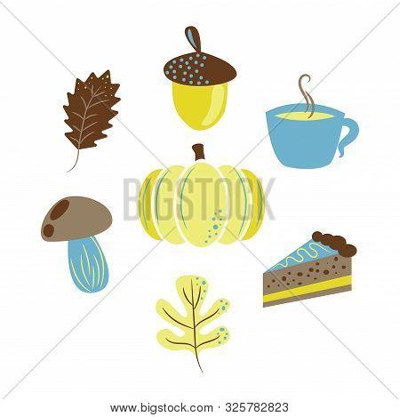 Autumn harvest objects pumpkin, acorn, pie, mushroom and leaves. Fall clip art vector. stock photo