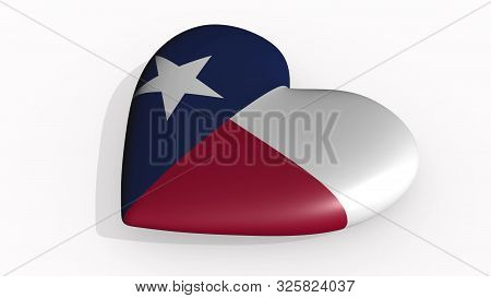 Texas heart beats and casts shadow, 3d rendering stock photo