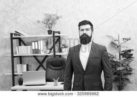 Good boss is good leader. Man bearded hipster boss looking at you with attention. Boss standing in office. Boss receive complaints. Executive director and ceo are leadership titles in organizations. stock photo