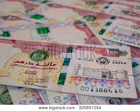 AED. Currency of  United Arab Emirates. Emirates Dirham b finance background.Macro photography stock photo