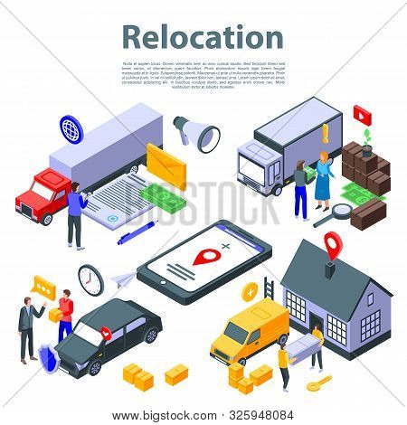 Relocation move concept banner. Isometric illustration of relocation move vector concept banner for web design stock photo