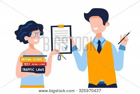 Happy young woman who holds driving books shows new car keys. A satisfied instructor gives permission to drive. Driving school concept, driver's license, traffic rules, test. Vector flat illustration. stock photo