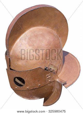 the ancient warrior helmet on white background stock photo