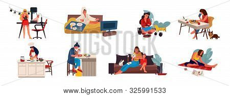 People with hobbies. Flat creative characters cooking playing sewing and doing hobbies at home and outdoor. Vector set illustrations cartoon free women handicrafts working on white background stock photo