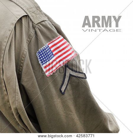 Flag patch on the american battledress (Private first class armband) from second world war. Picture with space for your text. stock photo
