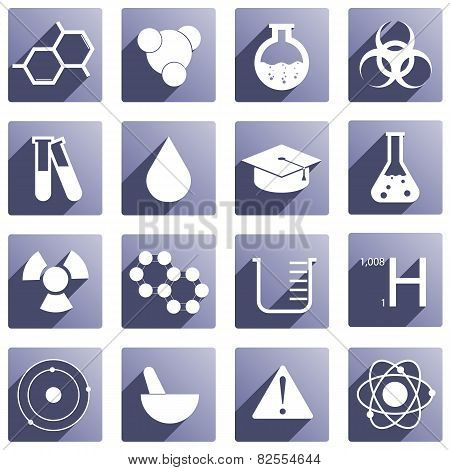 Set of 16 different chemical icons in purple color. stock photo