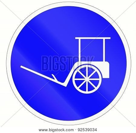An Indonesian sign for a rickshaw lane. stock photo