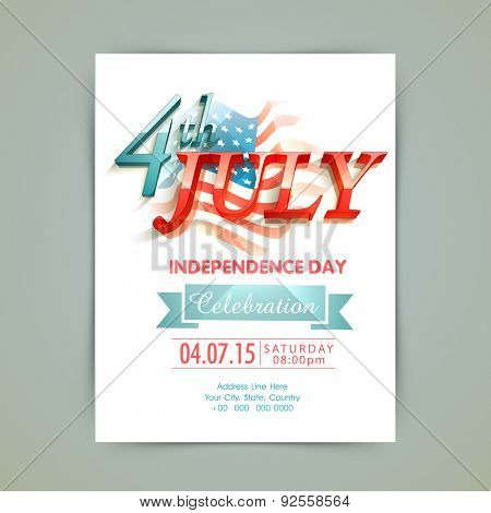 Stylish invitation card with 3D glossy text 4th of July on national flag for American Independence D