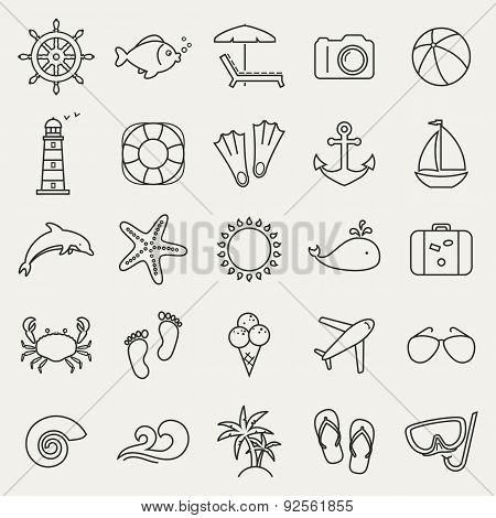 Sea And Beach Line Icons. Vector Set.