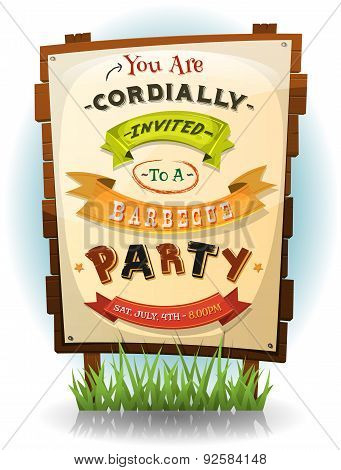 Barbecue Party Invitation On Wood Sign