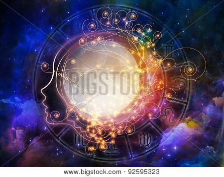 Inner Moon series. Backdrop of moon human profile and astrological symbols on the subject of spirit world dreams imagination astrology and the mind stock photo