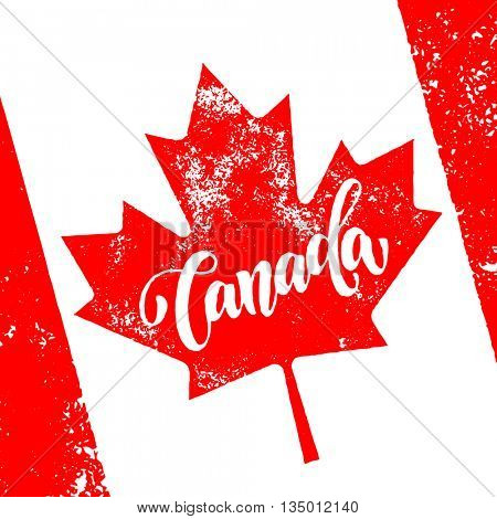 Vector greeting card for Canada Day. Illustration for 1st of July Canada Independence Day with flag