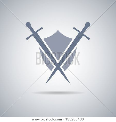 Shield and sword icon,shield and sword silhouette with shadow stock photo