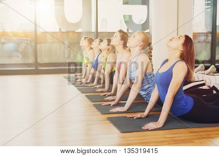 Group of young women in yoga class. Group of people making exercises. Girls do yoga stretching exercise. Back stretching. Healthy lifestyle, sport, gymnastics, yoga studio. Fitness club, yoga training