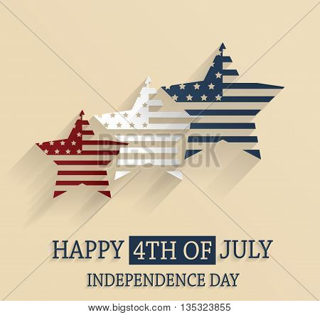 4th of July poster. Independence Day. Red, white and blue stars. Vector illustration.