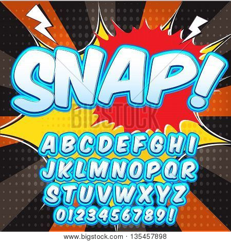 Creative high detail comic font. Alphabet in the style of comics, pop art. Letters and figures for decoration of kids' illustrations, websites, posters, comics and banners. stock photo