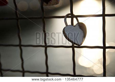 Love padlock on the railing of a bridge, Berlin, Germany. stock photo