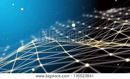 Blue futuristic technology background. Beautiful wavy network connection. Plexus futuristic fantasy.