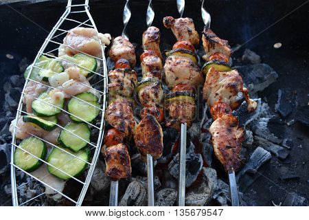 barbecue. Meat. Hearts. Vegetables. Nature. Recreation. Picnic