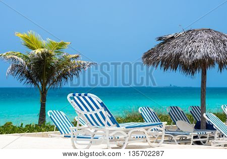 Sun lounger with ocean view in Cuba Cayo Santa Maria stock photo