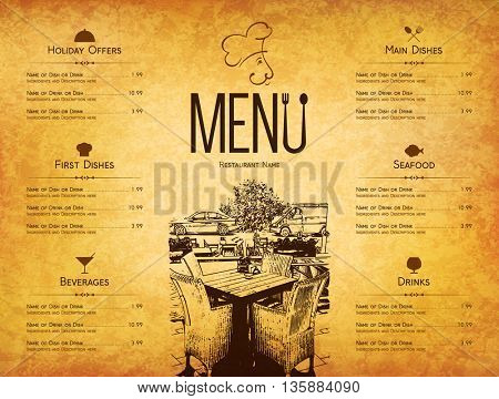 Restaurant menu design. Vector menu brochure template for cafe, coffee house, restaurant, bar. Food
