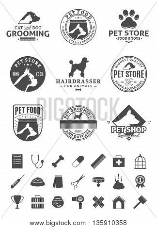 Set of vector pet logo and icons. Vector logo for pet club or shop pet center or barberry pet sport club or veterinary clinic. Pet and veterinary icons set. stock photo