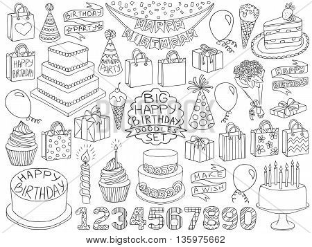 Birthday Doodles Set Anniversary Kid Birthday Sketch Symbols