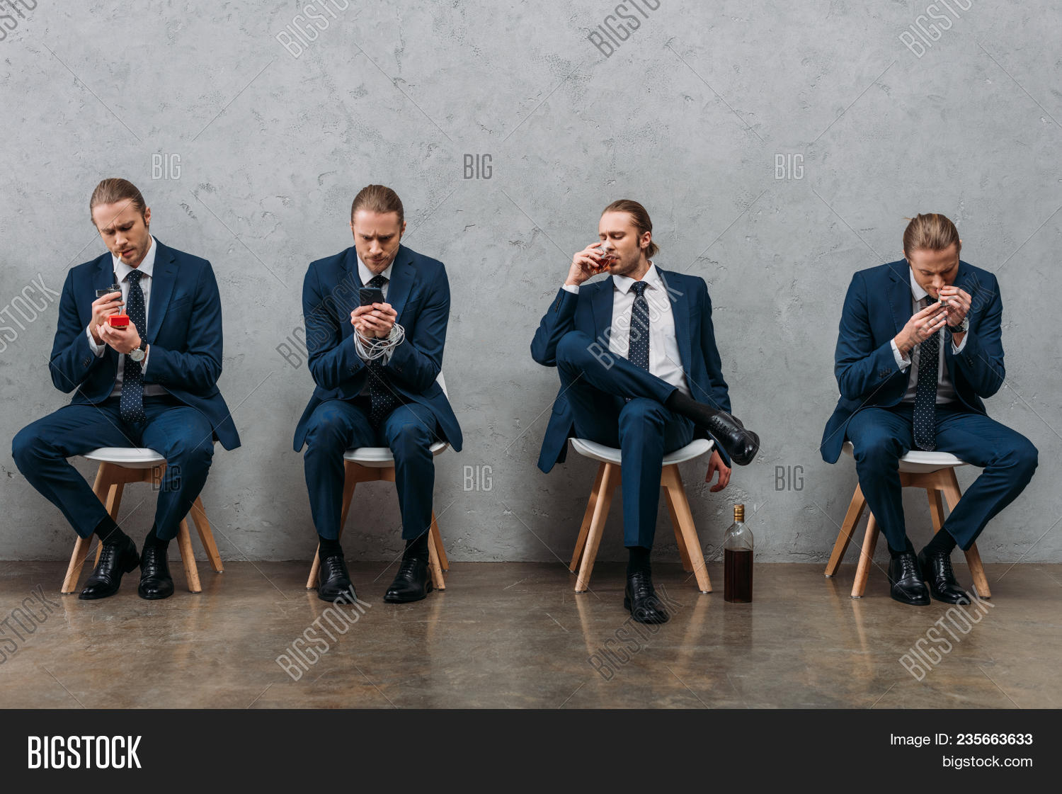 collage of cloned businessman sitting on chairs and showing various addictions