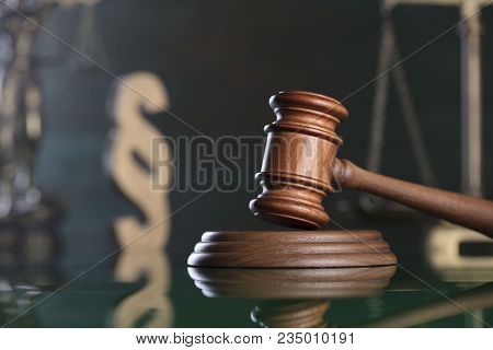 The law concept background. Mallet oft the judge, scale of justice, Themis and paragraph sign - symbols of the law. stock photo